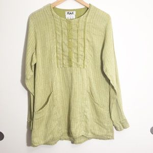 Flax Size Small Linen Long Sleeve Top